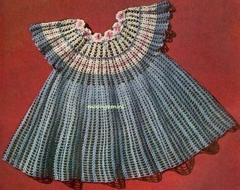 Crochet Baby Flower Yoke Party Dress Vintage Pattern Sizes 2, 3 and 4