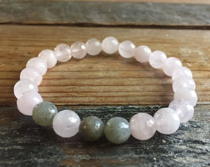 Stackable Mala Inspired Faceted Rose Quartz + Labradorite Yoga and Meditation Bracelet