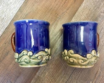 Two Pottery Wave Mugs