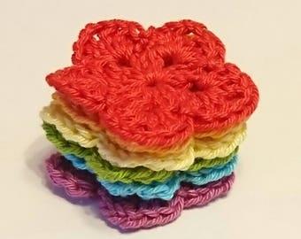 Crochet Rainbow Flowers