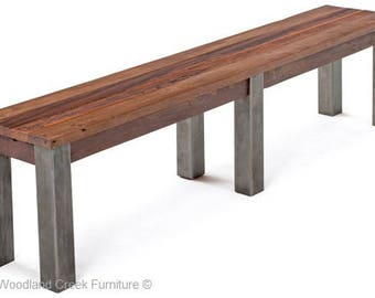 Rustic Bench with Metal Legs