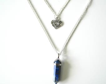 Limited Edition double layered silver plated necklace featuring a love and peace charm and blue and gold pendant handmade by Charmed Ivy
