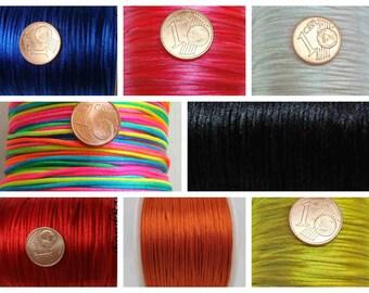 5 mètres QUEUE de Souris 1mm fil cordon satiné Multicolore ou couleur unie au choix DIY loisirs créatifs Noeuds macramé