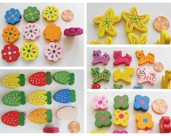 10 perles bois peint Mix couleurs motifs au choix Fleur Fraise Etoile de mer Chat Papillon DIY Loisirs créatifs bijoux