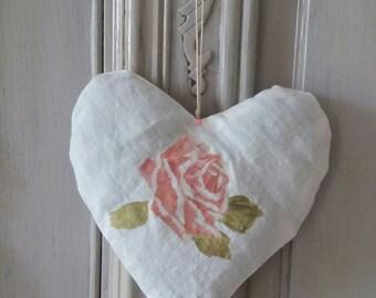 door cushion pink Lavender shabby heart pattern