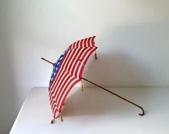 Rare Patriotic Doll Parasol . Antique American Flag Parasol . Vintage Toy Flag Umbrella . USA . 48 Star Flag Parasol