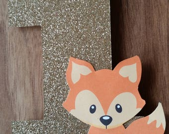 1st First Birthday Custom Made Gold Glitter Woodland Fox Number 1 Cake Topper with Bow Birthday Cake Decoration