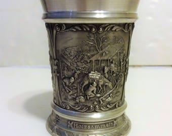 Beautiful SKS Zinn 95% Made in Germany Drinking Vessel. 3 Different Scenes. Great Shape.