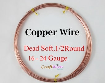 Pure 99.9% Copper Wire, Half Round, Dead Soft, 16 18 20 21 22 24 Gauge CDA #110, 1 5 15 25 50 Feet, Craft Wrapping DIY Jewelry