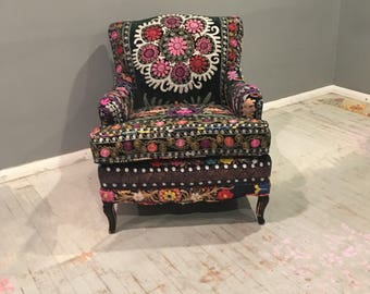 French Chair, Suzani Chair , Embroidered Chair, Boho Chair