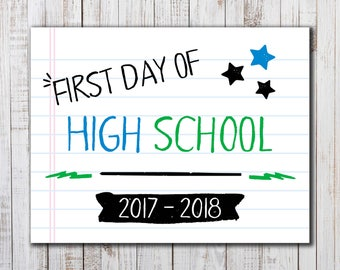 Printable  First Day of School Sign,  Back to School Printable, Boys or Girls Photo Prop, High School Sign, Back to School Photo Prop, Cool