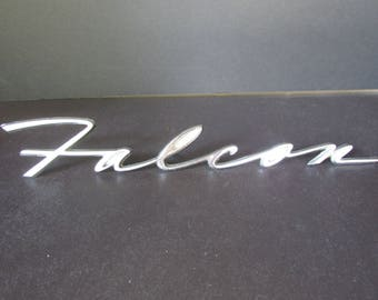 1960s Ford Falcon Script Emblem, Nameplate/ Vintage chrome rear quarter panel logo, 4 pin, C3DB.16098.A