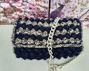PATTERN: raffia blue bag, raffia shoulder bag, raphia  bobbles bag, raffia mini  bag, raffia  bobbles stitches bag