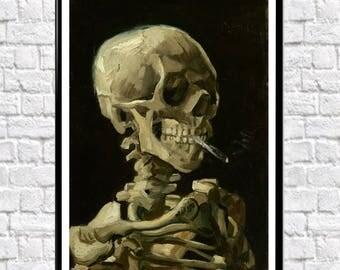Skull of Skeleton With Burning Cigarette by Vincent Van Gogh Wall Art Van Gogh Art Skull Wall Art Skeleton Wall Art