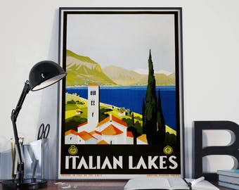 Italian Decor Italy Travel Poster Italian Lakes Travel Print Travel Wall Art Italian Wall Art Vintage Italian (Sizes up to 50cm x 70cm)