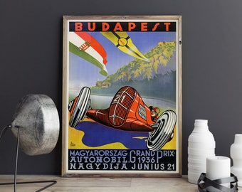 Budapest Grand Prix Poster f1 Art Hungary 1936 Motor Sport Poster Grand Prix Wall Art Car Wall Art Car Posters Car Prints F1 Gifts