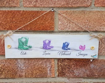 Our family sign wellies / Wellington boots sign / family wellies / New home gift / family tree gift / countryside gift / dog lover gift /