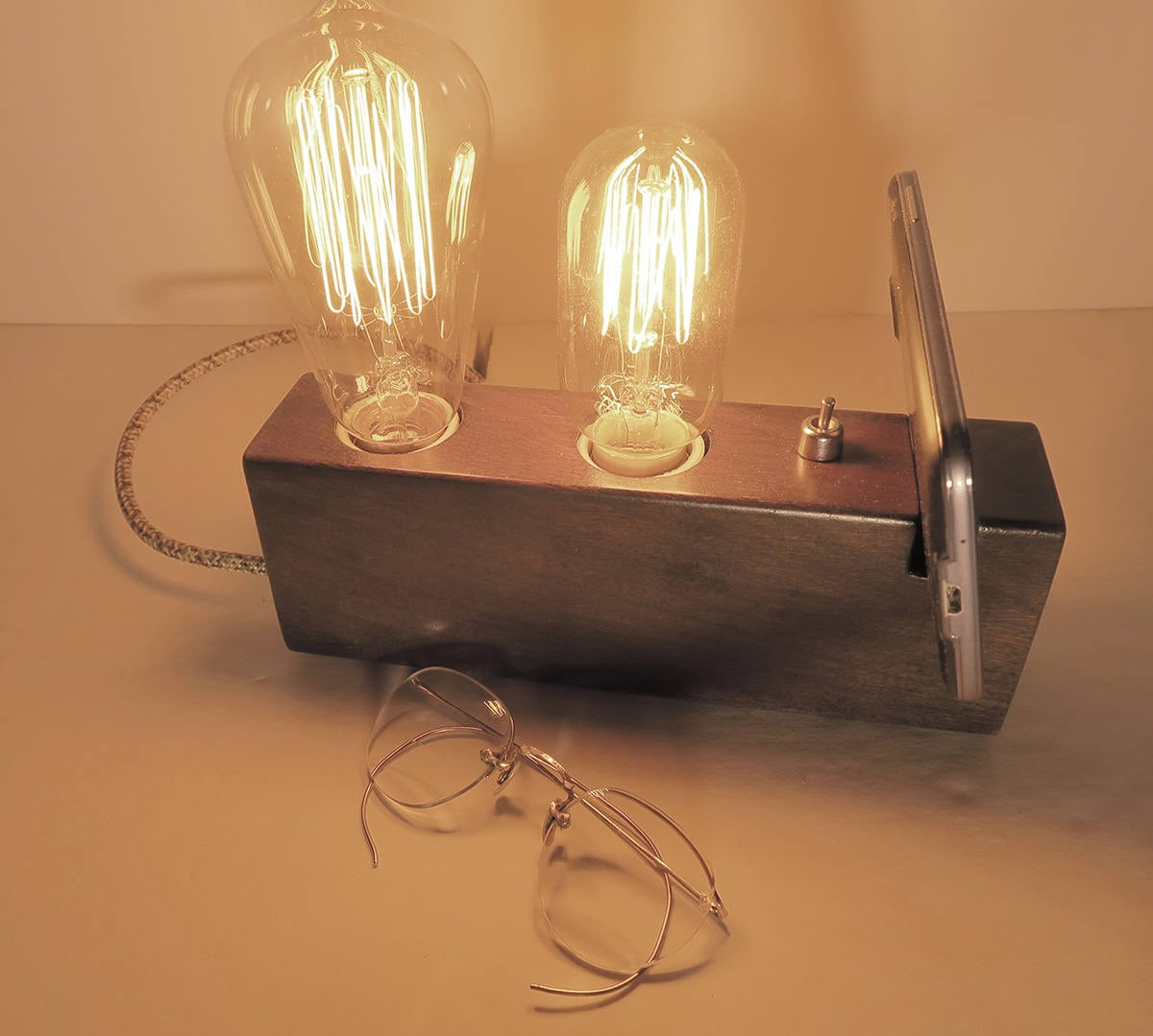 Wood lamp with phone holder edison wood lamp table lamp zoom geotapseo Choice Image