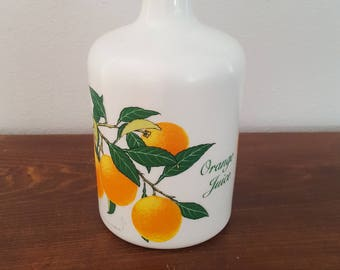 Milk Glass Orange Juice Bottle