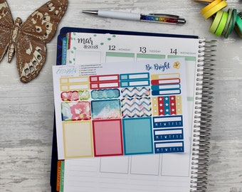 Be Bright Add On Sheet | planner stickers, habit trackers, checklists, half boxes, full boxes