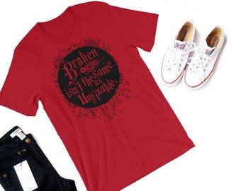 Broken Shirt--The Lunar Chronicles, Marissa Meyer, Cinder, Scarlet, Cress, Winter, Lunar Squad, Cinder shirt, Kai, Iko, bookish shirt