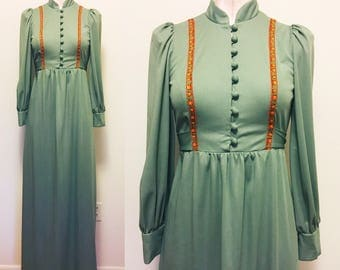 Boho maxi folk green dress 1970s