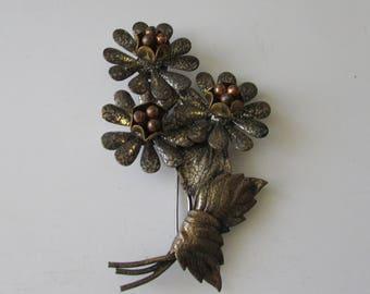Vintage Flower Metal Pin Floral Brooch Different!