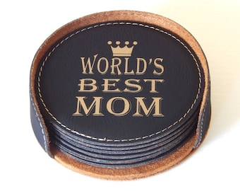 World's Best Mom Gift, Mom Gift, Gift for Mom, Mom Birthday Gift, Mom Christmas Gift, Mother's Day Gift, Customized Coasters, Coaster CAS004