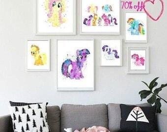70 Off Pony Watercolor My Little Pony My Little Pony Decor Rainbow