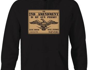 2nd Amendment Gun Permit American Eagle NRA  Hooded Sweatshirt- 5302