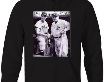 Babe Ruth & Ted - Sox Yankees Baseball Greatest Vintage  Hooded Sweatshirt- 5339