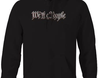 We the People Stainless Brushed Steel American Freedom Hooded Sweatshirt- 5496