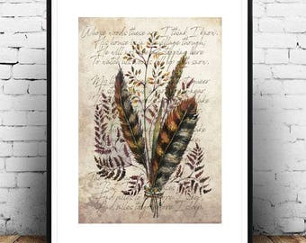 MILES TO GO - Romantic Bohemian Feathers Herbs Bouquet Vintage Art Print Poetry Poster on Antique Paper Background