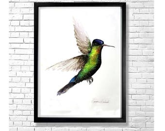 SPLASH OF COLOR - Colorful Hummingbird Watercolor Painting Art Print Poster Bird Animal Illustration Yellow Green Blue White Wall Decor