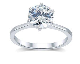 Diamond Engagement Ring 1.75 Ct; Minimalist Solitaire Diamond Ring 14K Gold; Tapered Band Solitaire Engagement Ring- Round Real Diamond H-