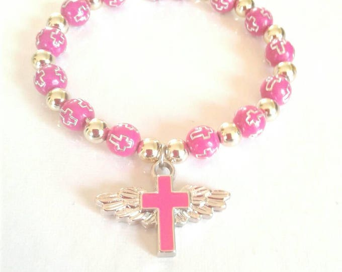 Pink Beaded Gold Cross Bracelet, Statement Piece, Gift for Women, Pink and Gold, Classic Style, Crucifix Bracelet, BeadWork, Gift for Girls.