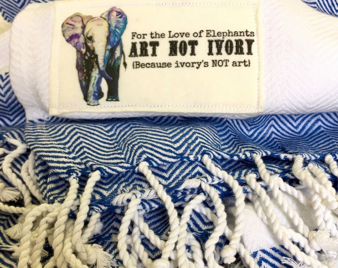 Royal Blue For the Love of Elephants Blanket Wrap
