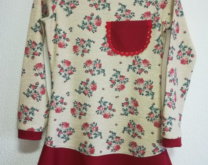 Floral tunic, personalized clothing, Christmas Time, Women's clothing, Blouses, Handmade clothes, sweatshirts, lady's clothing, handicraft