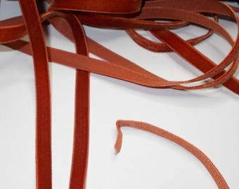 10 meters of Vintage French Burnt Orange Velvet Ribbon Unused NOS Fabulous Quality. 9mm Wide.