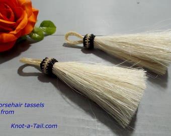 "Horse hair tassel, Creamy White, horsehair tassel,  4 1/2"" long, horse hair tassel, horsehair necklace, horsehair jewelry, Boho tassel"