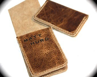 Italian distressed Leather playing card case with matching card wallet