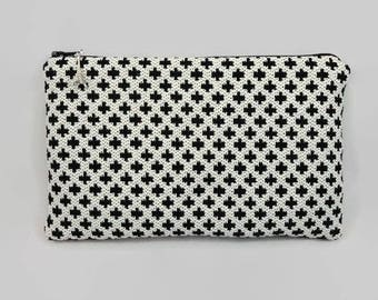 flat pouch in off white and black cross jacquard fabric