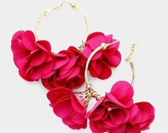 Metal Hoop Triple Fabric Flower Earrings - Fuchsia