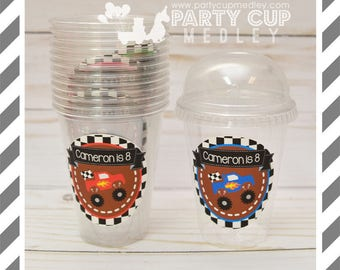 Monster Truck Birthday Favor Cups with Dome Lids or Party Cups, Lids & Straws