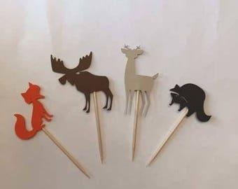 24 Assorted Woodland Toothpicks, woodland Cupcake Toppers, woodland Baby Shower, Woodland Theme, Appetizer Picks, Woodland birthday