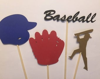 Set of 4 Baseball Theme Centerpieces - baseball cake toppers, baseball party, birthday party, baseball baby shower, baseball decorations