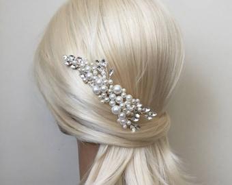 Bridal Hair Accessories, Wedding Head Piece, Ivory Pearl, Rhinestone, Silver, Comb