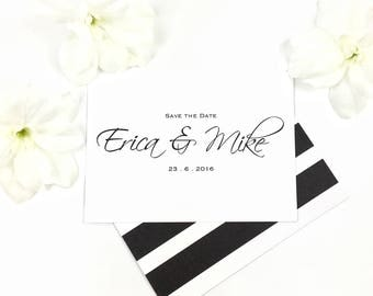 Personalised Simple Striped Black and White Save the Date Wedding Postcard, hand-finished in the UK