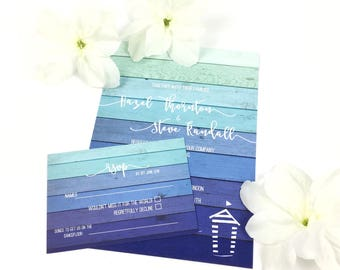 Personalised Blue Ombre Beach Hut Wedding Invitation & RSVP Set, hand-finished in the UK