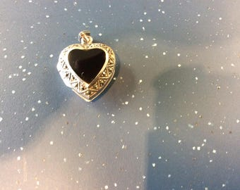 Sterling Silver Onyx and Marcasite Pendant Lockett